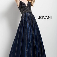 Navy and gunmetal long fit and flare sleeveless v neck dress.