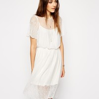 ASOS | ASOS Pretty Midi Skater Dress with Lace and Embroidered Detail at ASOS