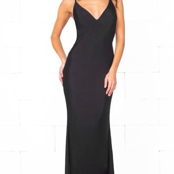 Indie XO In The Mood Black Sleeveless Spaghetti Strap Plunge V Neck Backless Twist Ruched Bodycon Maxi Dress Gown - Just Ours!