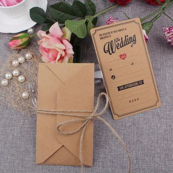 20pcs Wedding Invitation Card Vintage Kraft Wedding Cards Invitation with Envelopes for Weddings Decoration Event Party Supplies