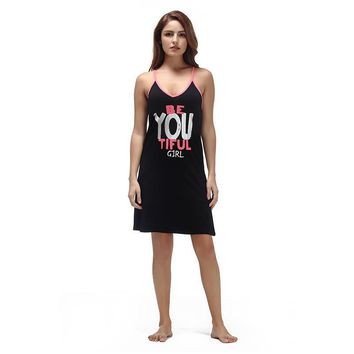 Be You Tiful Girl - Beautiful Girl Nightgown Women Sleeveless V Neck  Nightdress