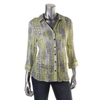 JM Collection Womens Crinkled Snake Print Button-Down Top