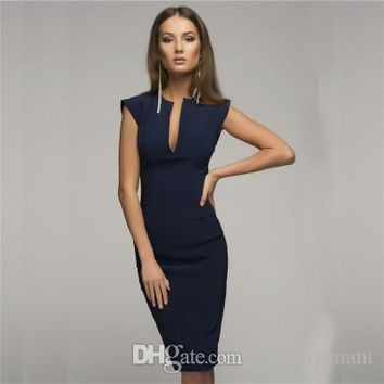 2019 designer woman summer dresses Womens Style Sexy V Collar Self Cultivation Dresses Spring Vintage Elegant Club Christmas Party Dress