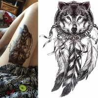 Black Tattoo Sticker Wolf  Indian Feather 21x15cm Waterproof Temporary