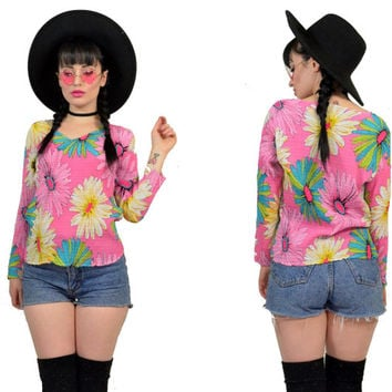 vintage 90s does 70s kawaii pastel grunge shirt flower power floral blouse neon cyber club kidd hippie boho crinkle pleated sequin tiop