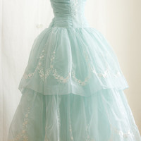 Vintage Inspired Tea Length Ice Blue Prom Formal Dress