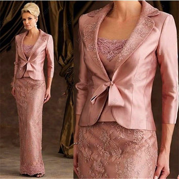 Hot Sale A Line Mother Of The Bride Dresses With Jacket Lace Appliques Party Evening Gowns For Wedding