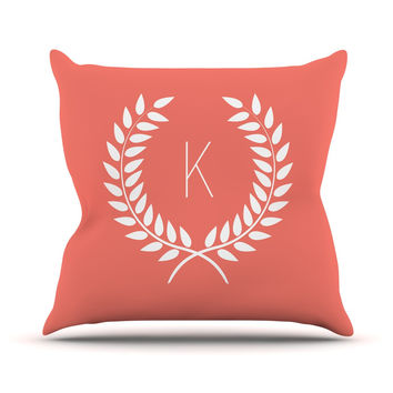 "KESS Original ""Coral Wreath Monogram"" Throw Pillow"