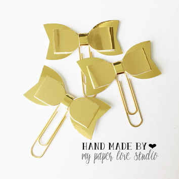 gold bow paper clips standard size : all gold (3pcs/set)