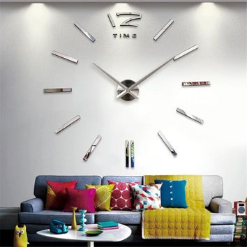 Fashionable Large Size 3D Wall Clock DIY Sticker Vintage Oversize Artistic Needle Circular Clock Home Decoration