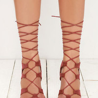 Heartbreaker Marsala Red Lace-Up Heels