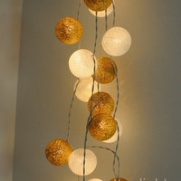 3 meter of white and gold cotton ball string light party decoration decor wedding rustic