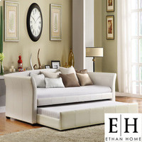 ETHAN HOME Deco White Vinyl Daybed with Trundle | Overstock.com