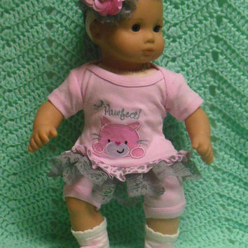 "AMERICAN GIRL Bitty Baby Clothes ""I'm Purrfect"" (15 inch) doll outfit  dress shorts booties socks headband cat pink and gray"