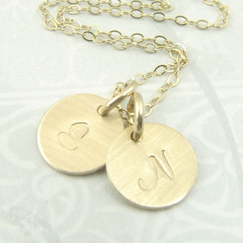 Gold Initial Pendant Circle Necklace - Brushed Matte Finish - Your Choice of Two Initials - Unblackened - Personalized Fashion Jewelry