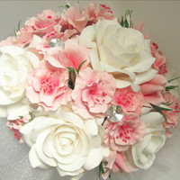 bridal bouquet with roses, sakura and magnolia buds. Pink, white bouquet
