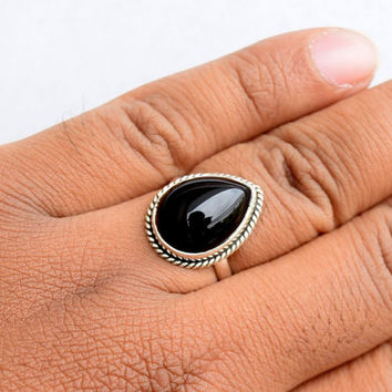 Black onyx Ring, Silver Ring, Stone Ring, Silver Black Ring, 92.5 Sterling Silver, Black onyx Silver Ring, Size US 5 6 7 8 9 10