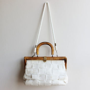 Unique Handbag Wood handle bag Woven Bag Knit Tote ladies bag Vintage handbag Raffia bag White vintage tote Shoulder bag One of a kind bag