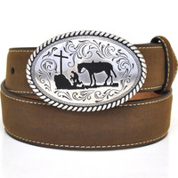 Nocona Kid's Cowboy Prayer Buckle Western Leather Belt