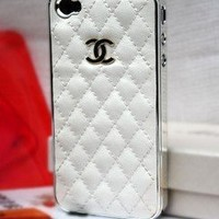 Designer inspired Chanel CC leather iphone 4/4S hard back case ,white with silver CC logo and frame, Luxury style and touch feeling , BUY one get one matched Free 3.5mm diamond Anti dust Ear Cap Dock Plug ,Shipping from Alberta,Canada:Amazon:Electronics