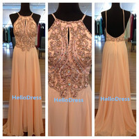 Long Beaded Backless Open Back Spaghetti Straps Light Peach Chiffon Prom Dress Long Evening Dress Homecoming Dress