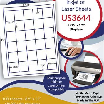 "US3644-1.625'' x 1.75""-30 up on a 8 1/2"" x 11"" inkjet or laser sheet."