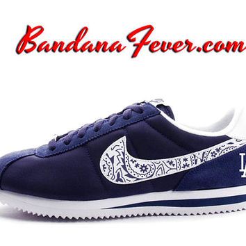 "Nike ""Dodgers"" Cortez Leather White/Navy Dodgers Blue Bandana Swoosh by Bandana Fever"