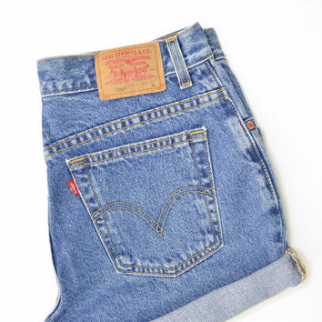 "LEVIS 550 High Waisted Shorts Medium Wash Denim Cuffed Rolled Cutoff Hem Boyfriend Jeans Festival Concert Wear Size 30"" Waist"
