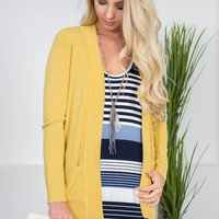 New York Ribbed Cardigan | Mustard