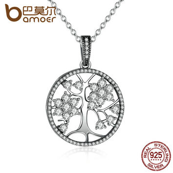 BAMOER Classic 925 Sterling Silver Tree of Life Pendant Necklaces for Women Wome