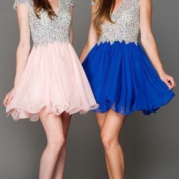 KC15356 Jeweled Cap Sleeve Homecoming Dress Amelia Collection by Kari Chang Couture