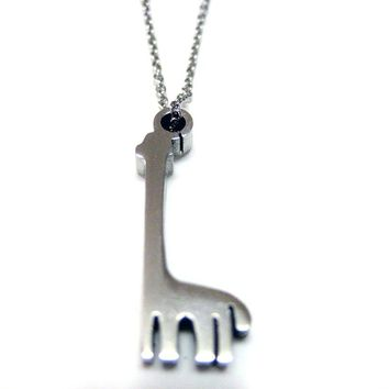 Silver Toned Giraffe Necklace