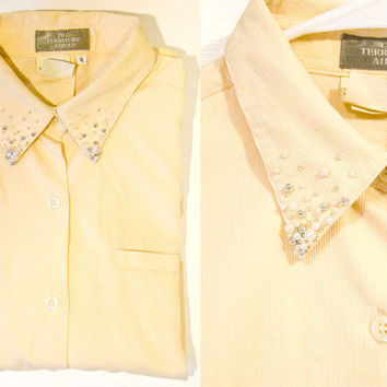 Beaded Collar Shirt - Yellow