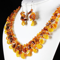 Baltic Amber Necklace, Silver Wire Crochet, original, honey, yellow, brown, statement, artisan, gemstone jewellery, gift for her, NL2818