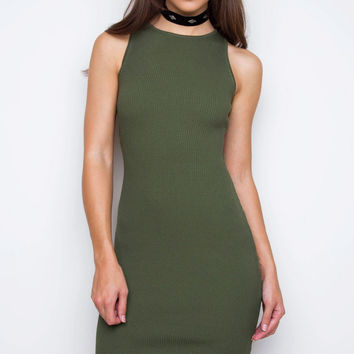 Millie Ribbed Dress - Olive