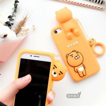 Cartoon lion phone Case For iphone 6 6sPlus Cute lion silicon case For iphone 6s 6plus 7 7Plus Protective fundas