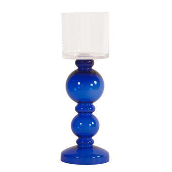 Cobalt Blue  Hand-blown Candleholder with Clear Hurricane Top - Short
