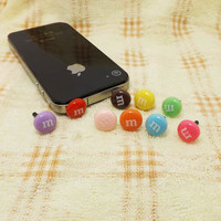Cute M Marble Chocolate Bean Chips Dust Plug 3.5mm Smart Phone Dust Stopper Earphone Cap Headphone Jack Charm for iPhone 4 4S 5 HTC Samsung