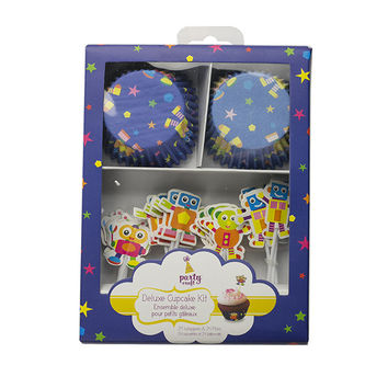 Robot Cupcake Wrapper and Pick Set, 24 Pack