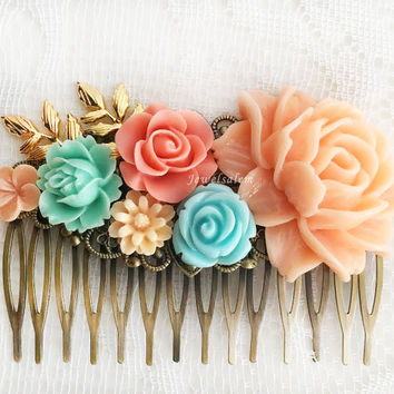 Coral Mint Green Hair Comb Wedding Bridesmaid Gift Peach Pink Turquoise Blue Mint Bridal Head Piece Floral Flower Pastel Colors Fall Colors