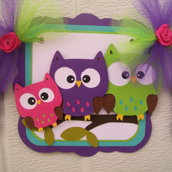 Owl family baby shower banner, its a girl banner, pink chevron, purple, lime green and fuchsia
