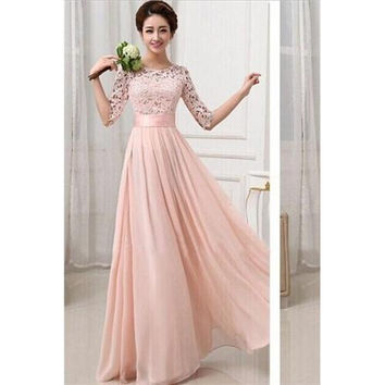 Pink Chiffon Lace Beautiful Ladies Evening Dress