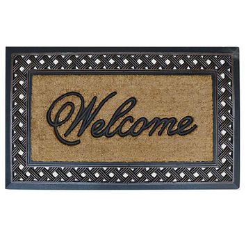 """First Impression Rubber and Coir Brush Large Doormat, 23"""" X 38"""""""