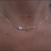 Rose gold Hamsa hand and evil eye necklace 14K rose goldfilled chain