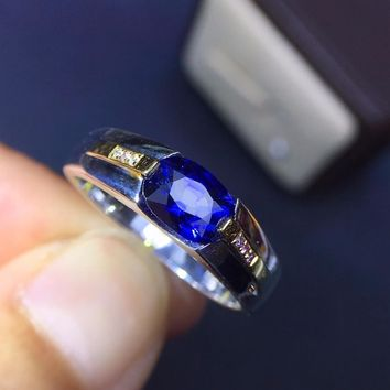 9549270e4 Fine Jewelry Real 18K Rose Gold 100% Natural 1.5ct Blue Sapphire