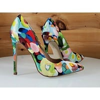 """Red Cherry Multi Floral Fruit Pointy Toe Pump Shoe 4.5"""" Stiletto High Heels"""