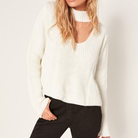 Missguided - White Choker Neck Chunky Cropped Sweater