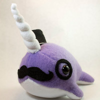 Narwhal Plush with Mustache, Tophat, and Monocle (Choose your Color)