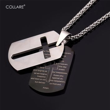 Collare Bible Lords Prayer Cross Pendants 316L Stainless Steel Dog Tag