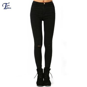 Famous Brand Slim Denim Pants New Arrival Ladies Black Skinny Ripped Mid Waist with Pockets Button Fly Long Jeans